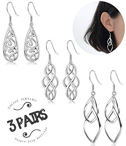 LOLIAS 3 Pairs Celtic Knot Dangle Earrings for Women Girls Silver Twist Wave Filigree Teardrop Fashion Earring Jewelry ()