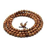 Zen Dear Unisex Natural Yew Wood Mala Prayer Bracelet Link Wrist Necklace Chain Buddhist Pray Mala Beads (8mm 108 Beads)