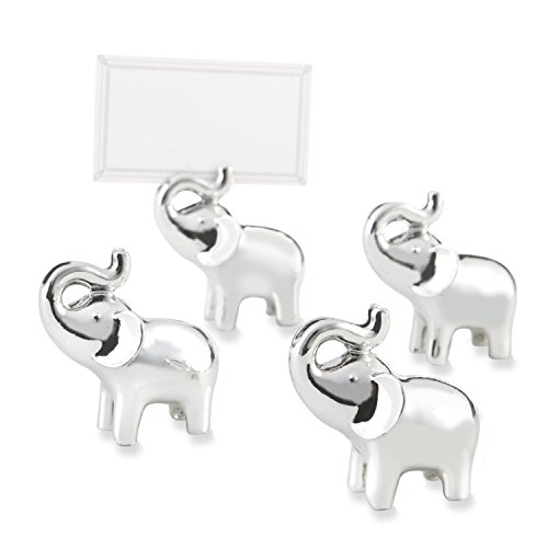 BUYBUYMALL 10 Pcs Silver Finish Cute Lucky Elephant Place Card/Photo Holder - Elephant Card Holder