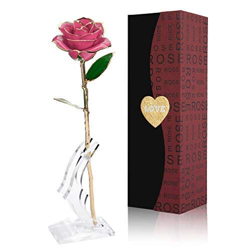 NICEAO Gold Rose 24K Artificial Flowers Dipped Rose Gold Plated Rose with Transparent Stand for Lover, Mother, Girlfriend, Gold Dipped Rose (Pink) (24k Gold Trimmed Vase)