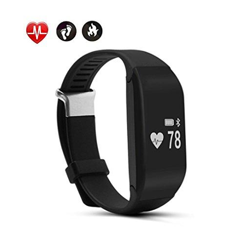 Fitness Aktivitätstracker mit Pulsmesser, AsiaLONG Bluetooth Smart Armband Integrierte Herzfrequenzmessung am Handgelenk / Schrittzähler / Kalorienverbrennung überwachen / Sport Zeit / Schlafmonitor für Apple iOS und Android Armband (Schwarz)