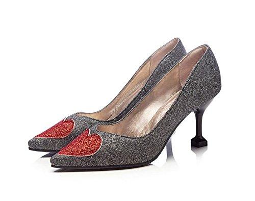 - Women's Sexy Sequins Heart Pattern Stiletto High Heels Pointed Toe Low Cut Slip On Pumps Shoes(Grey38/7 B(M) US Women)