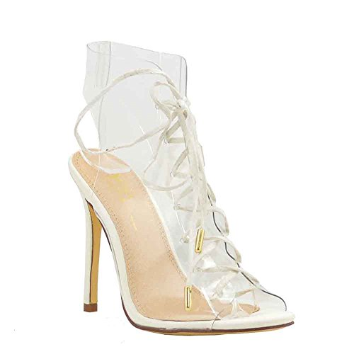 Olivia Jaymes Women's Dress Sandal Clear PVC Gladiator Laced Ankle Wrap Stiletto Heel Sandals (7, White) ()