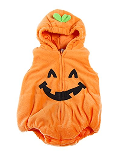 stylesilove Halloween Kid Fleece Pumpkin Costume Comfy Jumpsuit (80/6-12 Months) ()