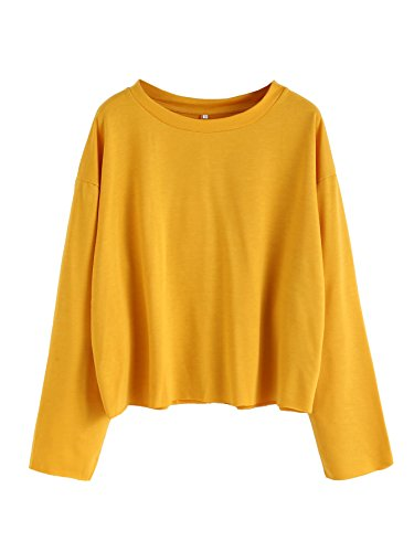 Plain Crewneck Sweatshirt (SweatyRocks Women's Casual Long sleeve Tops Raw Cut Pullover Sweatshirt Yellow M)