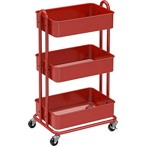 Image of SimpleHouseware Heavy Duty 3-Tier Metal Utility Rolling Cart, Red