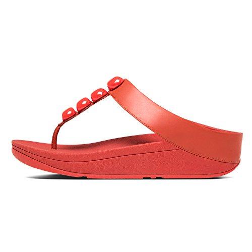 FITFLOP Rola, Sandalias con Plataforma para Mujer Rojo