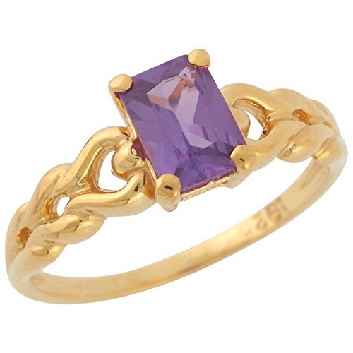 14k Yellow Gold Simulated Alexandrite Ladies Unique Fine Braided Shank Ring