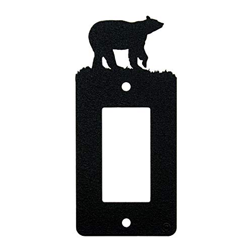 (Bear Single Gang Light Switch, GFCI Power Outlet, Wall Plate (Single Rocker (GFCI), Black) )