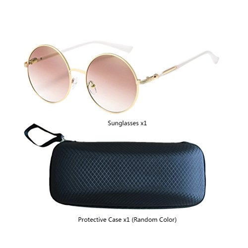 Round Oversized Womens Gold Sunglasses Zhuhaitf for Con gafas Mens Frames estuche de Mirror Unisex Fashionable Design Polarized amp;brown 00qtH4