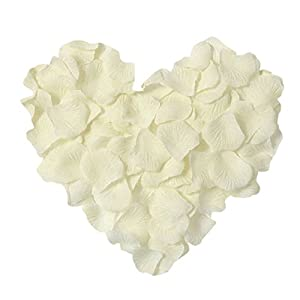 Neo LOONS 1000 Pcs Artificial Silk Rose Petals Decoration Wedding Party Color Ivory 34
