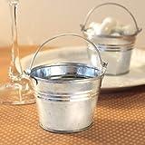 Fashioncraft Miniature 2'' Metal Galvanized Pails (60 pieces),silver