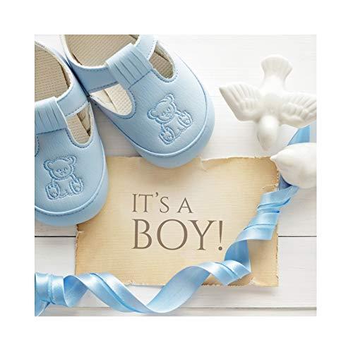 Laeacco 6x6ft Cartoon Cute Boy Baby Shower Backdrop Vinyl It's a Boy Card Blue Prewalkers Long Ribbon White Ceramic Pigeons Flat Lay Photo Background Boy Baby Shower Party Banner Child Baby Boy Shoot