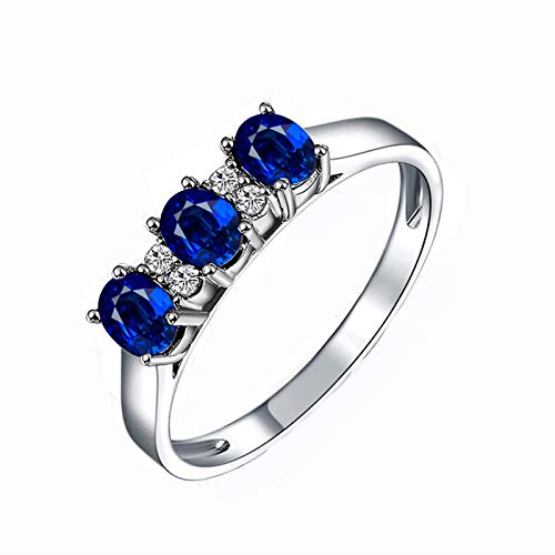 KnSam Ring for Women Fashion Fine Ruby0.5ct Red Diamond, Rose Gold 18 Carats Wedding Rings for Women Sapphire Blue Size - Blue Marquis Sapphire