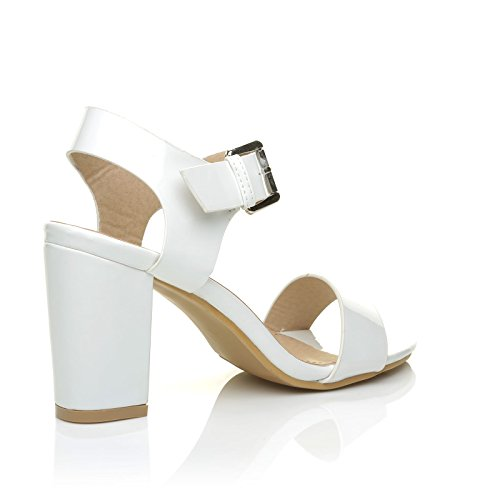 ShuWish UK Carrie White Patent PU Leather High Block Heel Peep Toe Ankle Strap Party Sandals HyOYinhKyV