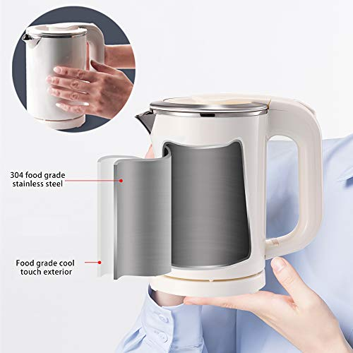 BonNoces Portable Electric Kettle - 0.5L Small Stainless Steel Travel Kettle - Quiet Fast Boil & Cool Touch - Perfect for Traveling Boiling Water, Coffee, Tea (White)