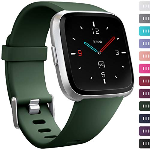 Ouwegaga Compatible for Fitbit Versa Bands Straps Wristbands for Women Men Small OliveGreen
