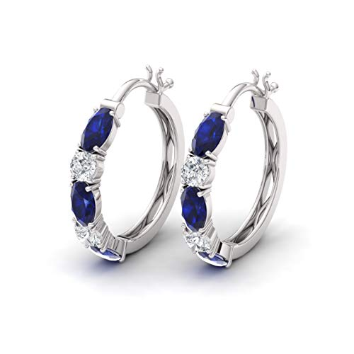 (Diamondere Natural and Certified Blue Sapphire and Diamond Huggies Earrings in 14K White Gold | 2.21 Carat Earrings for)