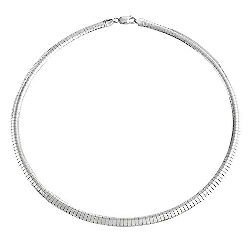 Verona Jewelers 925 Sterling Silver Flexible Italian Flat Omega Chain Necklace- 4MM 6MM Cubetto Italy Wire Necklace Chain 16 18 20 (17, 4MM)