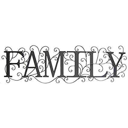 Amazon.com: Black Family Metal Wall Decor with Swirl Design: Home ...