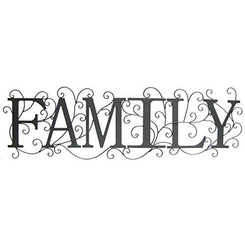 Black Family Metal Wall Decor with Swirl Design (Wall Family Metal Art)
