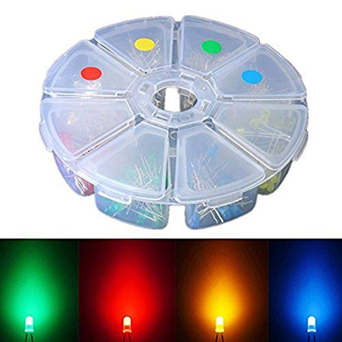 Elfeland 160pcs 3mm LED Light Emitting Diodes Assorted Color White Red Yellow Green Blue Super Bright Long Working Time for Arduino & DIY