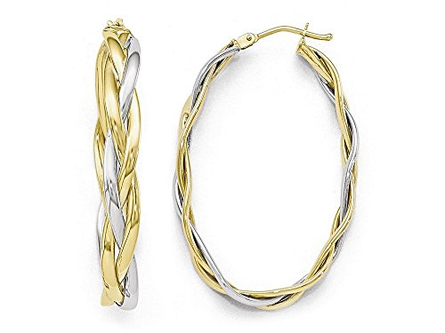 Finejewelers 10k Two-tone Polished Braided Hoop Earrings 10 kt Yellow Gold by Finejewelers (Image #4)'
