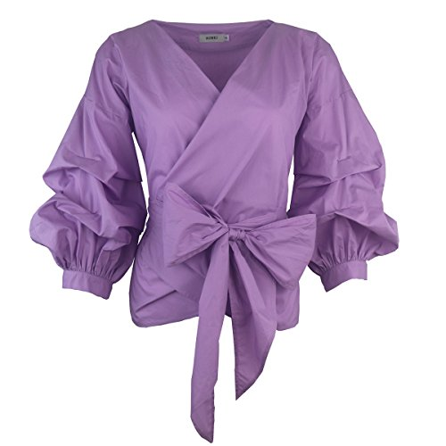AOMEI Women Spring Summer Blouses with Puff Sleeve Sashes Shirts Peplum Tops Purple Color Size L