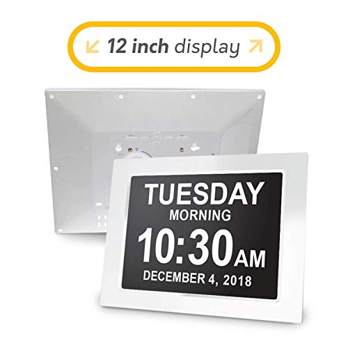 American Lifetime [Newest Version 12 Inch Day Clock - Extra Large Impaired Vision Digital Clock with Battery Backup & 5 Alarm Options - White