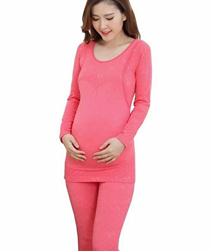 Evedaily Women's Long Sleeves Scoop Neck Stretch Top & Bottom Maternity Clothes Pajama Thermal Underwear Set