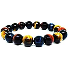 Duseco Natural Precious Colored Obsidian and Tiger's Eye Gemstone Tibetan 10mm Stretched Unisex Bracelet