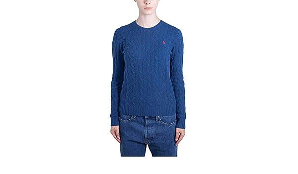 POLO RALPH LAUREN Women - Light blue blend knit Cashmere crewneck ...