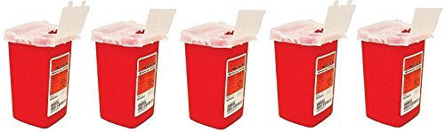 Medline Sharps Container Biohazard Needle Disposal Container - 1 Quart (Pack of 5) ()