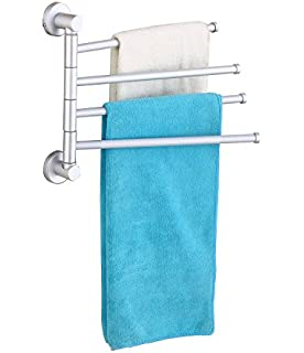elloallo 114 inches aluminum swing out towel bar 4 bar folding arm swivel hanger amazoncom alba pmclas chromy
