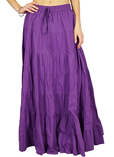 Phagun falda de la falda maxi larga playa del desgaste del verano del algodón Ropa Púrpura