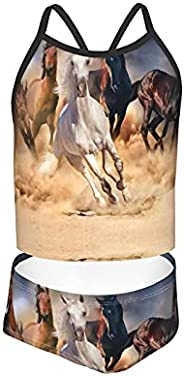 OcuteO Beautiful Horse Herd Run in Desert Sand Swimsuit Two Piece Bathing Suits Soft S