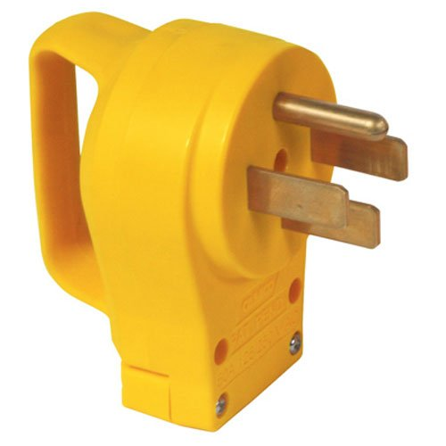 Camco PowerGrip Replacement Plug- Transform Your RV Plug Into a Safe and Durable PoweGrip Cord 50 AMP (55255) - Shore End