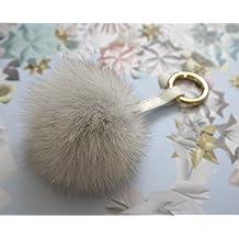 Fluffly Real Fox Fur Pom Pom Doll Ball Keyring / Bag Charm Gold Ring (S Ash Gray)