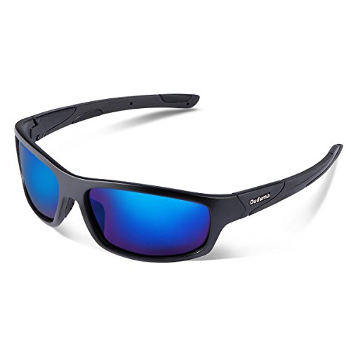 Duduma Polarized Sports Sunglasses for Men Women Baseball Running Cycling Fishing Driving Golf Softball Hiking Sunglasses Unbreakable Frame Du645(Black matte frame with blue lens)