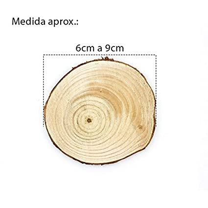 RUBY-Rodajas de Madera redonda sin acabado 1.5cm-4cm Disco de Madera color Natural