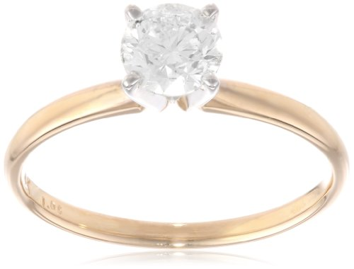 IGI-Certified 14k Yellow Gold Classic Round-Cut Diamond Engagement Ring (1.0 carat, H-I Color, SI1-SI2 Clarity), Size 8
