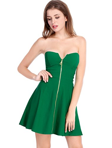 Allegra K Women's Strapless Exposed Zipper Front Tube Mini Party A-Line Dress Green Medium ()