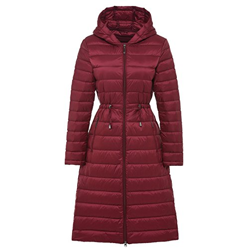 Winter Thin Female Hat Autumn Xuanku And Waist In Paragraph Red The Thin Long Down Jacket wine Slim cqnEFHTHW