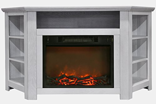 Cambridge CAM5630-1WHT Stratford 56 In. Electric Corner Fireplace in White with 1500W Fireplace ()