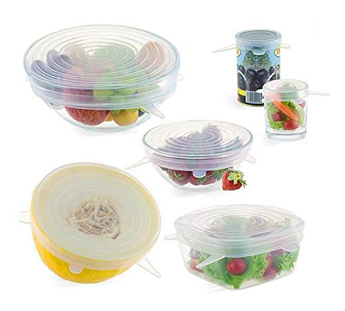 Silicone Stretch Lids Food Covers Expendable Reusable BPA free 6 Pack Various Sizes Freezer Microwave Dishwasher Safe Covers Any ()