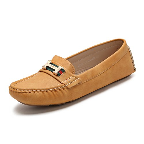 Hawkwell Frauen Komfort Slip-On Loafer Driving Schuhe Braun-2