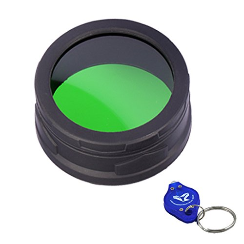 Nitecore 50mm Red/Green Filters for Tactical LED Flashlights - P30 MT40 TM06S - with LumenTac Keychain Flashlight (Green)