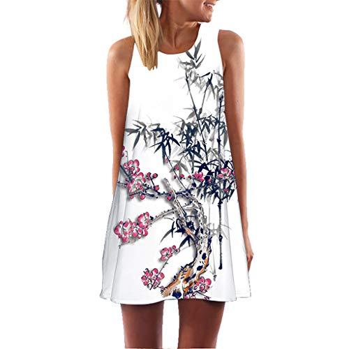 Women Loose Multi Color Retro Print Swing Sleeveless Beach Tunic Top Dress Stretchy Tank Mini Dress Juno -