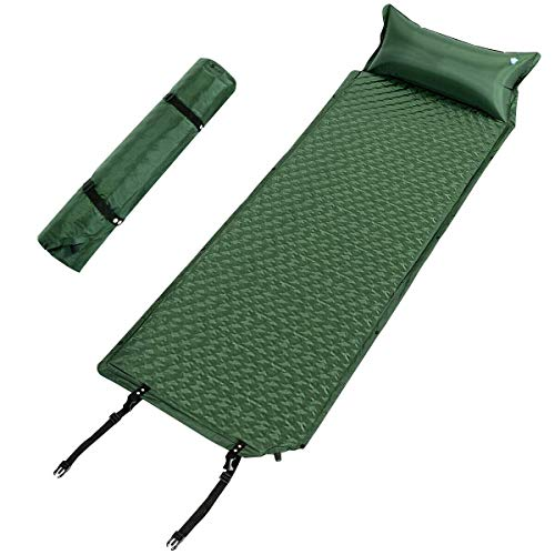 Giantex Camping Sleeping Pad - Mat, Ultralight Self Inflating Sleeping Pads w/Pillow & Bag, Hiking Air Mattress, Compact Air Cell for Better Support, Camp Mat for Backpack, Traveling and Hiking