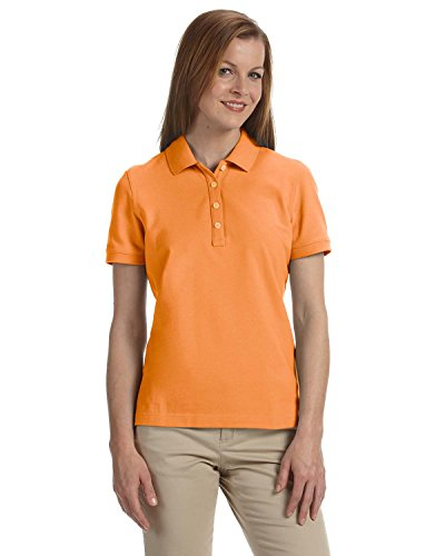 Women's Slim-cut Ashworth Classic Solid Pique Polo, Mango, S